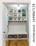 Home With White Wooden Shelves...
