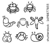 insects drawn by a line. set of ... | Shutterstock .eps vector #1698877855