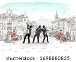 series of the street cafes with ... | Shutterstock .eps vector #1698880825