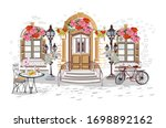 series of backgrounds decorated ... | Shutterstock .eps vector #1698892162