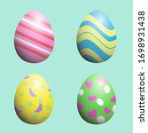 Beauty Four Easter Eggs Pastel...