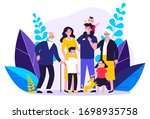 happy big family standing... | Shutterstock .eps vector #1698935758