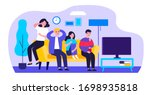 group of friends watching scary ... | Shutterstock .eps vector #1698935818