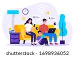 family suffering from social... | Shutterstock .eps vector #1698936052