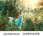 Small photo of Fantasy princess enjoys summer nature. Vintage long dress flies fluttering in wind. Woman smile happy face. Spirituality divine light sun shine freedom concept, perfume aroma flowers natural cosmetics