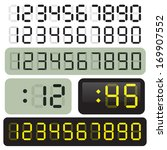 3 sets of vector lcd clock... | Shutterstock .eps vector #169907552