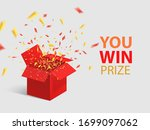 open red gift box and confetti. ... | Shutterstock .eps vector #1699097062