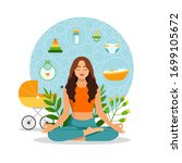 a young mother practices yoga... | Shutterstock .eps vector #1699105672