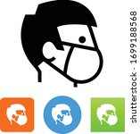 man wearing respirator mask icon | Shutterstock .eps vector #1699188568