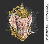lord ganesha head artwork vector   Shutterstock .eps vector #1699218658