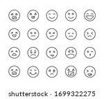 stroke line icons set of emoji. ... | Shutterstock .eps vector #1699322275