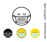 sick emoticon with medical mask ... | Shutterstock .eps vector #1699351108