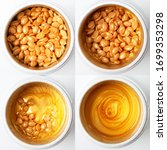 Small photo of Wax for depilation of gold color, waxing for heating wax type of wax hot, for the face and body, gold granules on a white background