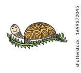 cute cartoon turtle. vector... | Shutterstock .eps vector #1699372045