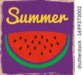 watermelon slice tropical berry ... | Shutterstock .eps vector #1699373002
