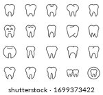 tooth line icon set. collection ... | Shutterstock .eps vector #1699373422