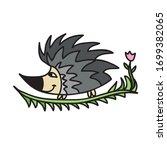 cute cartoon hedgehog. vector... | Shutterstock .eps vector #1699382065