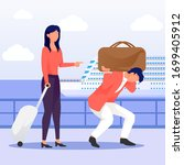 a man is carrying a massive bag ... | Shutterstock .eps vector #1699405912