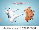 man in hazmat suit kicking the... | Shutterstock .eps vector #1699458538
