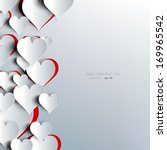 Hearts on abstract love background.Be my valentine.Love romantic messages with hearts.February 14.Valentines day card,banner.Global love day, may 1.Three dimensional red hearts shapes. | Shutterstock vector #169965542