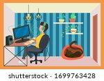 man working from home during...   Shutterstock .eps vector #1699763428