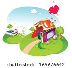 a house made out of books with... | Shutterstock . vector #169976642