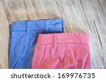 red and blue casual trousers on ... | Shutterstock . vector #169976735