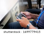 Play games on the phone. - stock photo