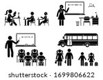 stick figure school boy  girl... | Shutterstock .eps vector #1699806622