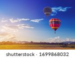 Color Hot Air Balloon In Blue...