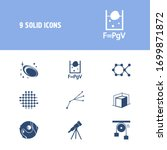physics icon set and 3d...