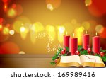 candles on a wooden table with... | Shutterstock . vector #169989416