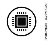 black round macro cpu chip icon ...
