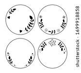 doodle black line leaves and... | Shutterstock .eps vector #1699918858