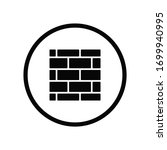 black round border brick wall...