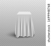 white curtain cover hiding cube ... | Shutterstock .eps vector #1699948768