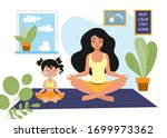 mom with her daughter practices ... | Shutterstock .eps vector #1699973362