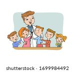 pediatric doctor with his happy ... | Shutterstock .eps vector #1699984492