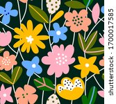 hand drawn colorful floral... | Shutterstock .eps vector #1700017585