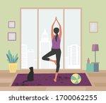 woman meditating yoga staying... | Shutterstock .eps vector #1700062255
