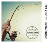 Fishing At Sunset. Retro Poster