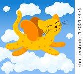 funny cartoon flying cat  | Shutterstock .eps vector #170017475
