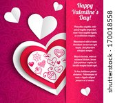paper hearts valentine day card ... | Shutterstock .eps vector #170018558