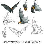 flying and hanging bats in... | Shutterstock .eps vector #1700198425