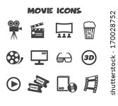 movie icons  mono vector symbols | Shutterstock .eps vector #170028752