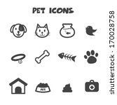 Stock vector pet icons mono vector symbols 170028758