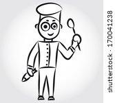 cute doodle chief. black... | Shutterstock . vector #170041238