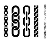 Metal Chain Parts Icons Set On...