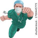 a nurse or doctor super hero in ... | Shutterstock .eps vector #1700445775