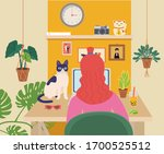 girl with red hair works on her ... | Shutterstock .eps vector #1700525512